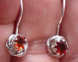 CHERRY FACETED FIRE OPALS GEMS & SILVER EARRINGS E015