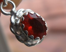 FIRE OPAL CHERRY GEMSTONE & SILVER FASHION PENDANT P017