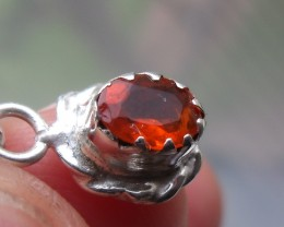 FIRE OPAL CHERRY GEMSTONE & SILVER FASHION PENDANT P018