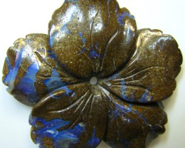 """BOULDER CARVING """" FLOWER """" TOP POLISH GREAT PIECE 81.15 CTS A8843"""