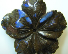 "BOULDER CARVING "" FLOWER "" TOP POLISH GREAT PIECE 89.70 CTS A8849"