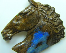 "BOULDER CARVING "" HORSE HEAD "" TOP POLISH PIECE 79.51 CT"