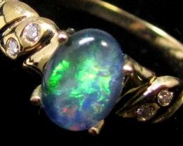 DIAMOND ,TRIPLET  OPAL RING SIZE  6.5   14 K  GOLD   CK 401