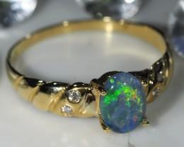 DIAMOND ,TRIPLET  OPAL RING SIZE  6.5   14 K  GOLD   CK 401