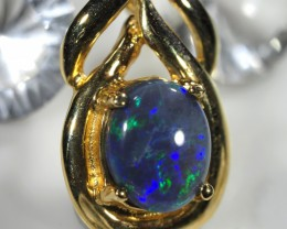 BLUE HUES BLACK OPAL PENDANT    18 K  GOLD   CK 405