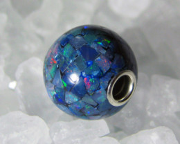 MOSAIC OPAL BEAD w/ SILVER GROMMET 10mm Round (MO8)