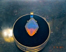 Gawk at my Opals Custom Cut 14kt Diamond Cushion Cut Pendant