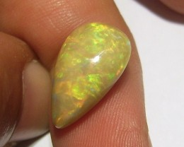 6.10ct ETHIOPIAN WELLO GEM OPAL CAB BRIGHT MULTI FIRE ON CARAMEL BASE