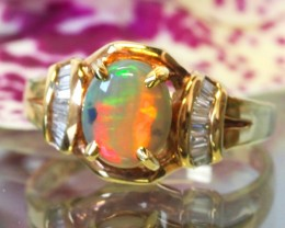 OPAL/RUSSIAN  DIAMOND RING SIZE 6 1/2   18 K    CK 200