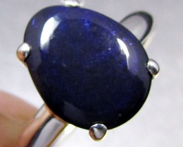 BLUE BLACK OPAL SILVER RING   SIZE   8.5     CK 425