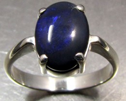 BLUE  BLACK OPALSILVER RING   SIZE 8.5       CK 427