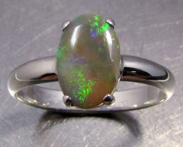 CRYSTAL  FIRE  OPAL SILVER RING   SIZE 8.5       CK 1434