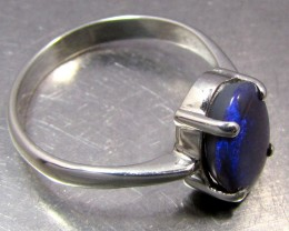 BLUE FLASH  OPAL SILVER RING   SIZE  9 .5     CK 1445