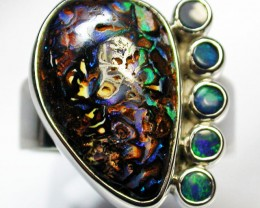 9 RING SIZE BOULDER OPAL RING WITH DOUBLETS- [SOJ1637]