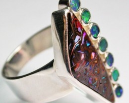 9 RING SIZE BOULDER OPAL RING WITH DOUBLETS- [SOJ1638]