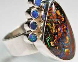 9 RING SIZE BOULDER OPAL RING WITH DOUBLETS- [SOJ1640]
