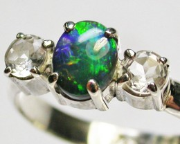 8.5 RING SIZE SOLID OPAL WITH TOPAZ FACTORY DIRECT [SOJ1662]SH