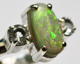 9 RING SIZE SOLID OPAL WITH TOPAZ FACTORY DIRECT [SOJ1669]