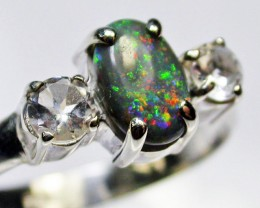 9.5 RING SIZE SOLID OPAL WITH TOPAZ FACTORY DIRECT [SOJ1671]SH