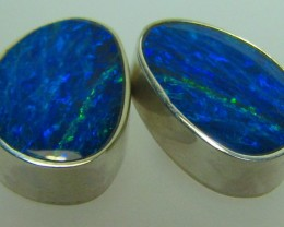 13.20 CTS DOUBLET OPAL STERLING SILVER 925 BLUE/GREEN A9459