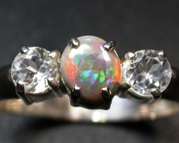 8 RING SIZE SOLID OPAL WITH TOPAZ FACTORY DIRECT [SOJ1702]SH
