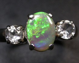 8 RING SIZE SOLID OPAL WITH TOPAZ FACTORY DIRECT [SOJ1706]