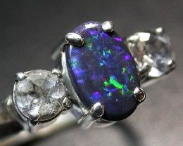 7.5 RING SIZE SOLID OPAL WITH TOPAZ FACTORY DIRECT [SOJ1710]