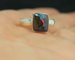 RED FIRE IN THIS BOULDER OPAL RING