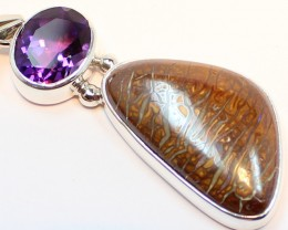 45.55 CTS BOULDER OPAL PENDANT STERLING SILVER 925+AMETHYST A9490
