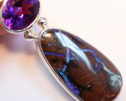 36.60 CTS BOULDER OPAL PENDANT STERLING SILVER 925+AMETHYST A9495