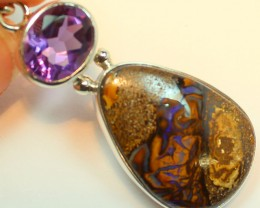 37.95 CTS BOULDER OPAL PENDANT STERLING SILVER 925+AMETHYST A9497