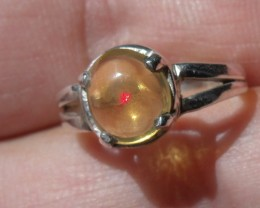 Mexican Fire Opal GEM & SILVER FASHION RING Sz 5.25