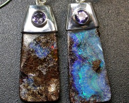 35.50 CTS BOULDER EARRINGS+WATER SAPPHIRE -SILVER [SOJ1824]
