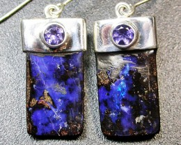 32.00 CTS BOULDER EARRINGS+WATER SAPPHIRE -SILVER [SOJ1826]
