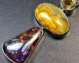 Mystic Quartz +Bumble Bee + Boulder Opal PENDANT SOJ1812