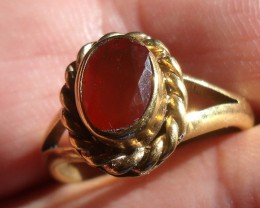 Mexican Cherry Opal Gem & Gold Plated Silver Ring SZ 7