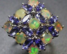 6 RING SIZE TANZANITE + ETHIOPIAN OPAL-STYLISH [SOJ1955]