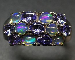 9.5 RING SIZE TANZANITE + ETHIOPIAN OPAL-STYLISH [SOJ1978]