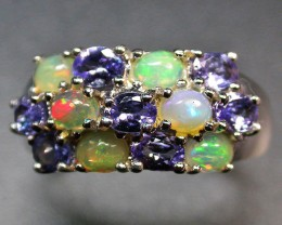 9.5 RING SIZE TANZANITE + ETHIOPIAN OPAL-STYLISH [SOJ1994]