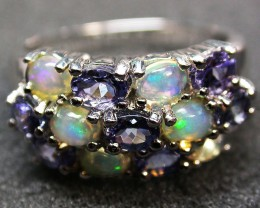 7 RING SIZE TANZANITE + ETHIOPIAN OPAL-STYLISH2 [SOJ2009]