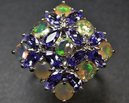 8.5 RING SIZE TANZANITE + ETHIOPIAN OPAL-STYLISH3 [SOJ2011]NR