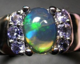 8.5 RING SIZE TANZANITE + ETHIOPIAN OPAL-STYLISH [SOJ2029]