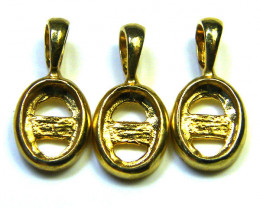 THREE STERLING SILVER  GOLD PLATED  PENDANT  FOR 6X4MM MLF14