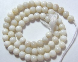 WHITE OPAL BEADS 6mm 77 CTS  AS-A7015