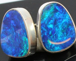 21.20 CTS DOUBLET OPAL STERLING SILVER 925 EARRINGS A9573