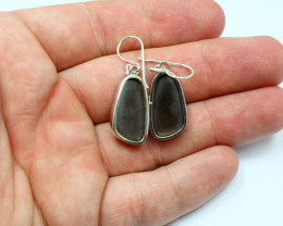 OPAL DOUBLETS ARE BEZZEL SET SHEPHERD HOOK EARRINGS WHICH ARE STERLING SILVER STAMPED 925