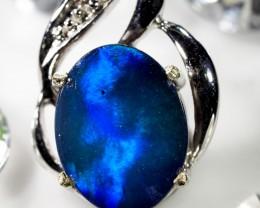 DIAMONDS N DOUBLET  OPAL W/G  PENDANT     CK 1608