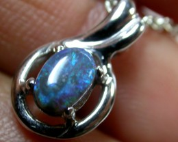 BLACK OPAL  WHITE GOLD 14 K  PENDANT     CK 1622