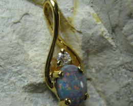 SOLID OPAL 925 SILVER GOLD PLATED PENDANT SGJP 34