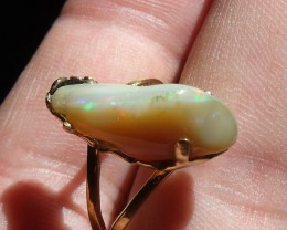 Welo Opal Gem & Gold Plated Silver Ring SZ 7.5
